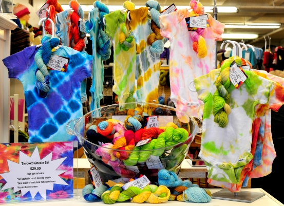Tie-Dyed Onesie Kits from All About Yarn in Tigard, Oregon